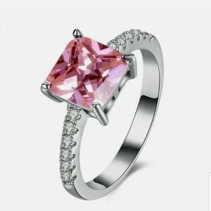 Silver Cubic Zirconia Prong Setting pink ring
